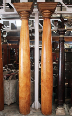Pair of 19th Century Satinwood Pillars, Kerala, South India